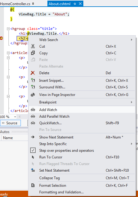 Add Watch - visual studio