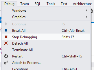 stop debugging - visual studio
