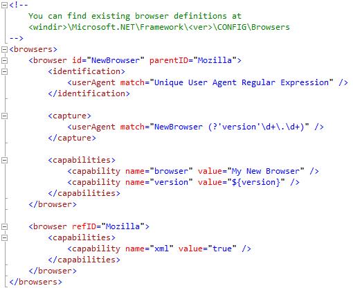 Browser Definition File Sample