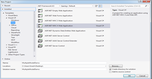 Choose Application Template for ASP.NET MVC4