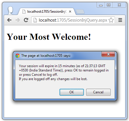 Session Time Out Warning Message Using Jquery In Asp Net