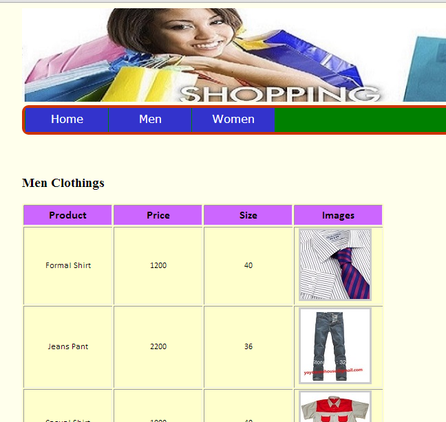 Men Clothing Page