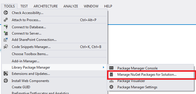 NuGet Package Manager UI