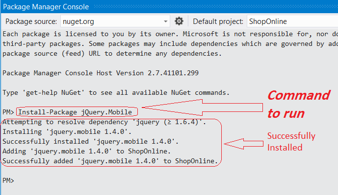 Using NuGet Console