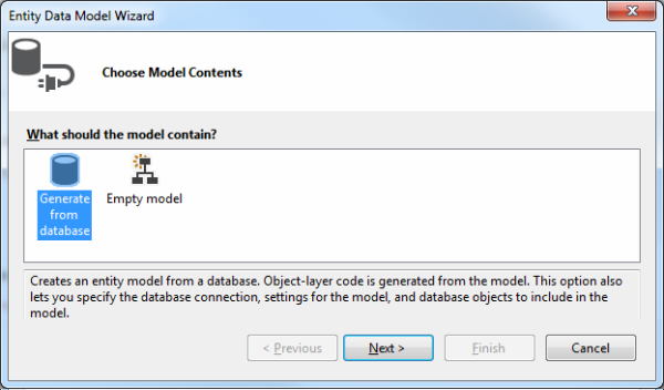 Generate from database option in the Entity Data Model Wizard