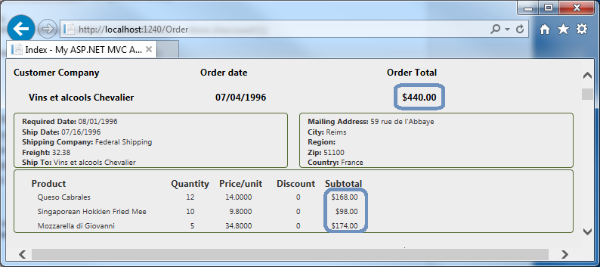 Order View with computed totals