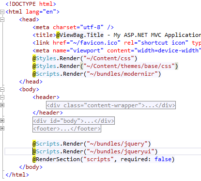 Visual Studio - Layout file showing render code for jQueryUI