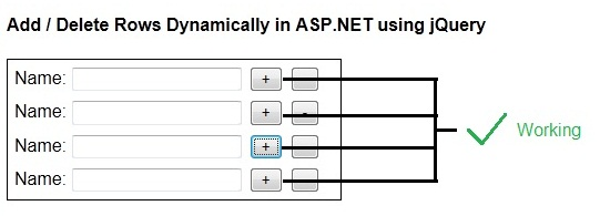 Add delete rows dynamically using jquery in asp net for Add th table jquery