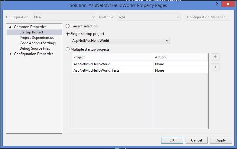Visual Studio solution configuration