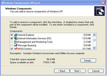 Windows components wizard