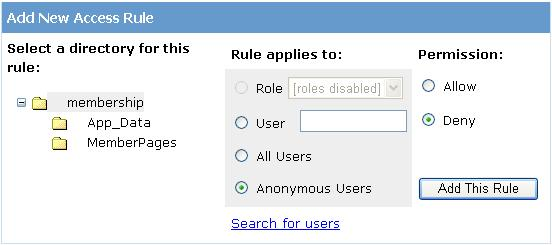 Add new access rule wizard