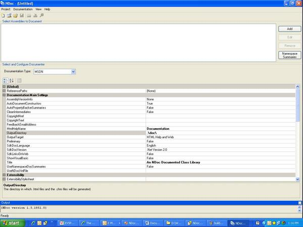 NDoc GUI Screen
