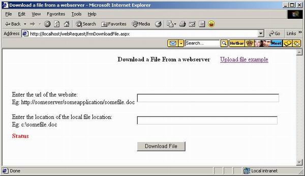 Screen Shot of Download file screen