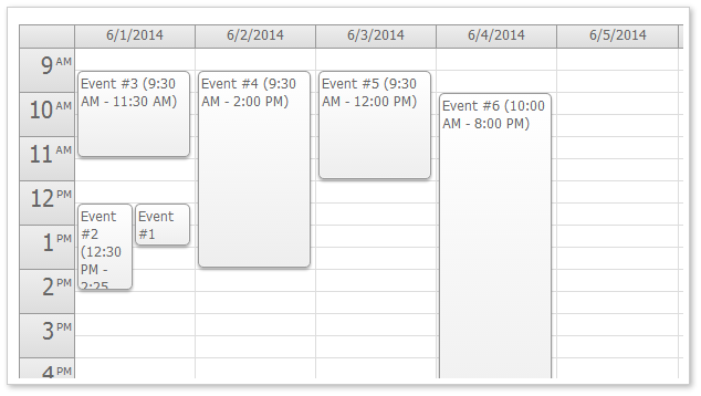 HTML5 Event Calendar Week View