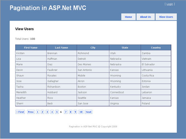 Pagination class for asp net mvc codeproject for Bootstrap table class