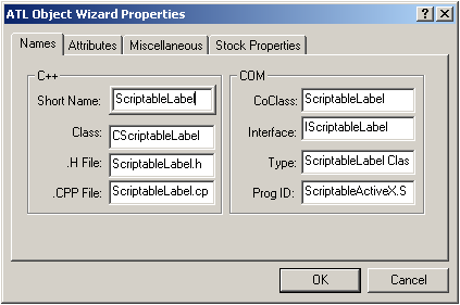 ATL Object Wizard Properties
