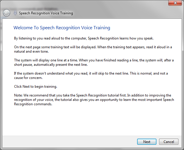 Image of speech recognition training