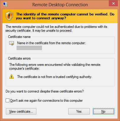 Remote Certificate Missing
