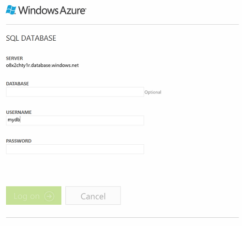 Windows Azure SQL Management