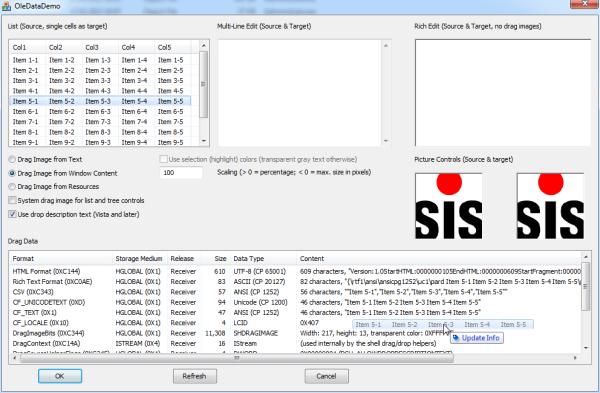 OleDataDemo application screenshot
