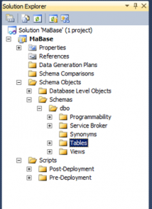 View Database Project in Solution Explorer