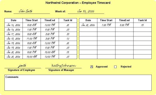 Sample Timecard
