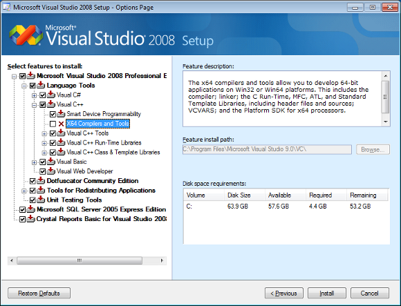 Figure 1 - The 64-bit compiler is disabled when installing Visual Studio 2008