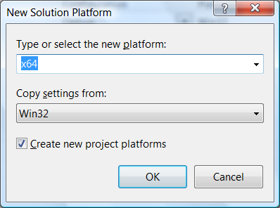 Figure 4 - Choosing x64 as the platform and loading the Win32 configuration as the base