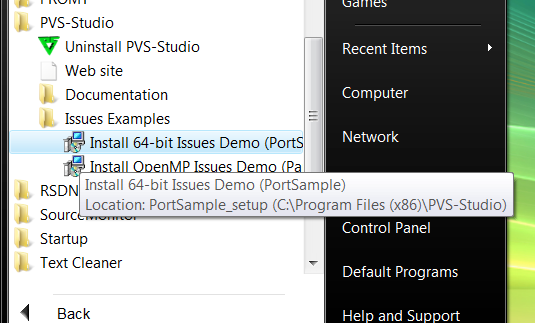 Figure 1 - Installing PortSample project included into PVS-Studio