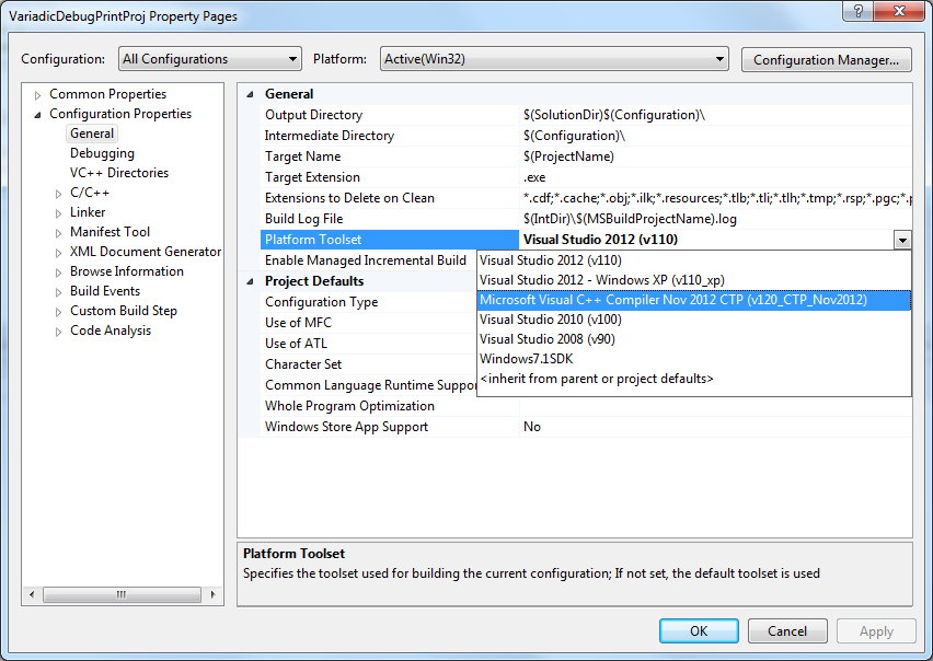 Select VC Nov CTP in Project Configuration