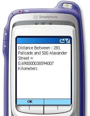Screenshot - Display the total distance between addresses