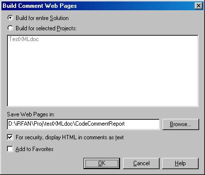 Build Comment Dialog Box