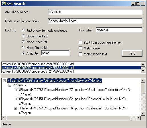 XML Search user interface