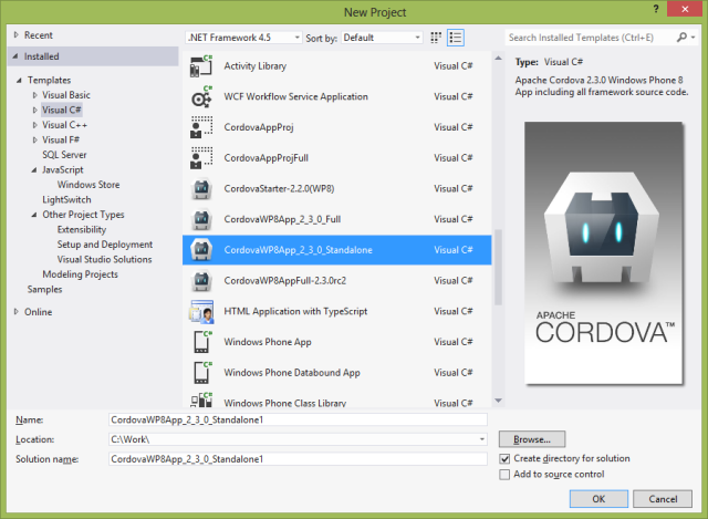 A Stand-Alone Cordova WP 8 project template