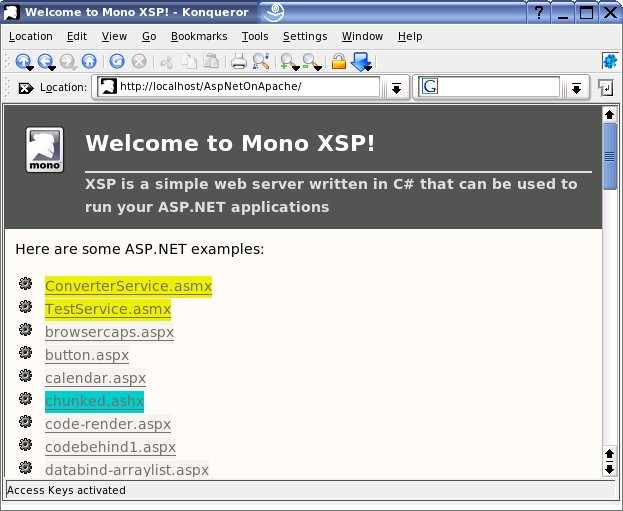 Apache web server on Linux showing ASP.NET examples pages.