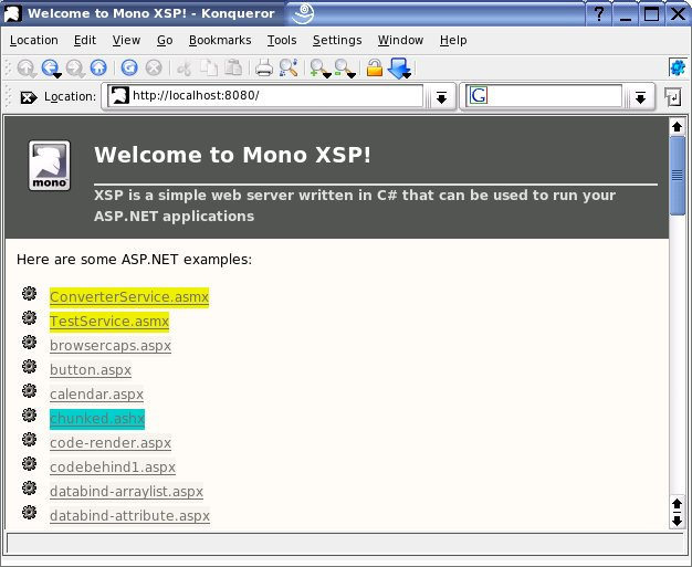 XSP web server on Linux showing ASP.NET examples pages.