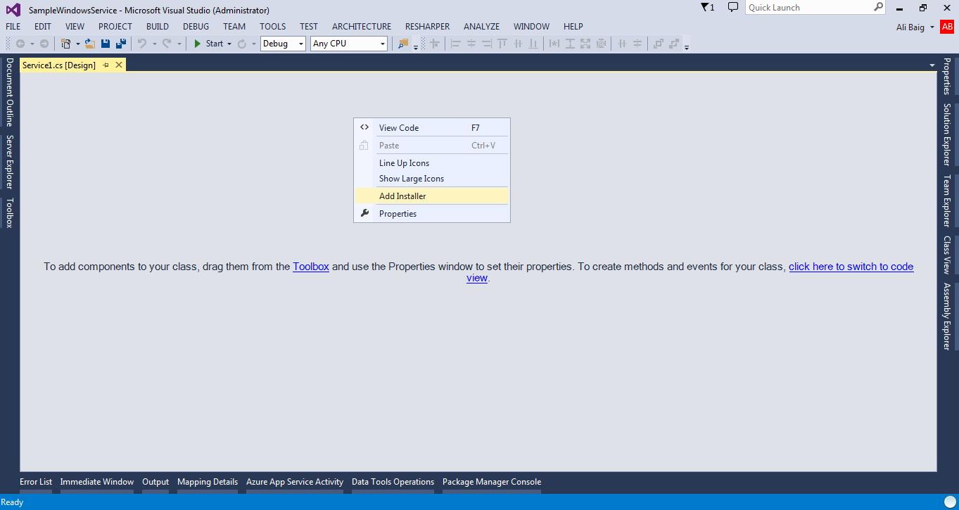 Writing windows services c#