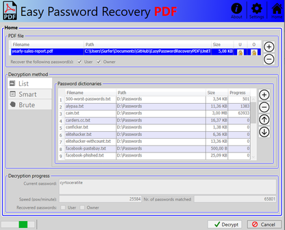 PDF password recovery tool, The smart, the brute and the lis