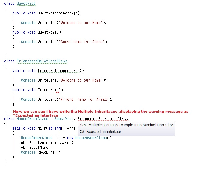 write a program to implement multiple inheritance in c#