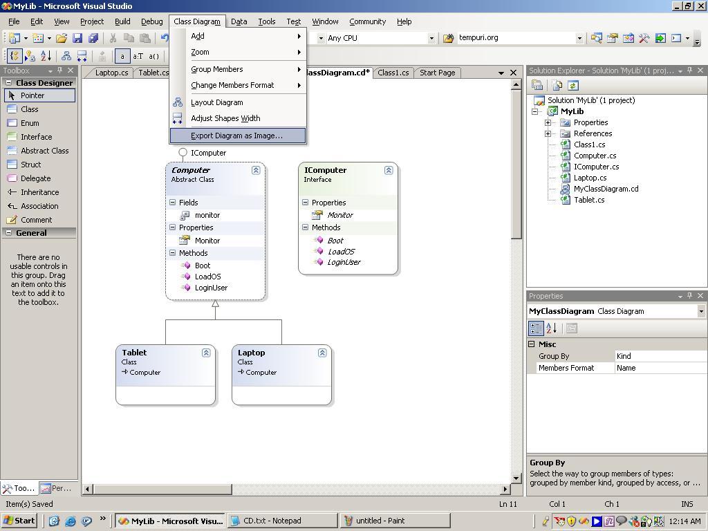 class diagram in vs net   codeprojectsample screenshot