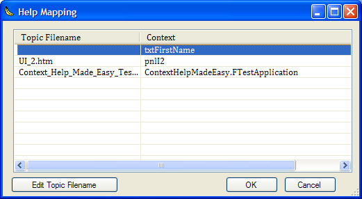 The Context Mapping dialog box