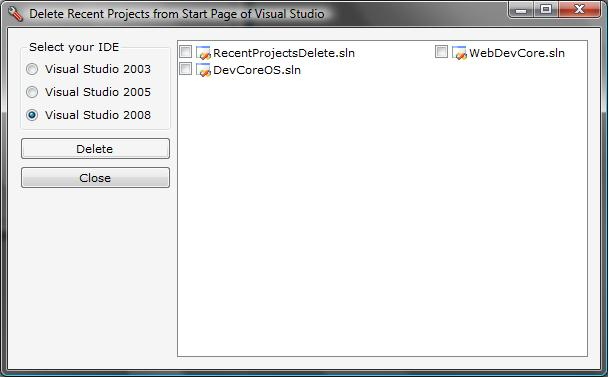 Delete Links from the Recent Projects List on the Start Page of Visual Studio 2003, 2005 and 2008