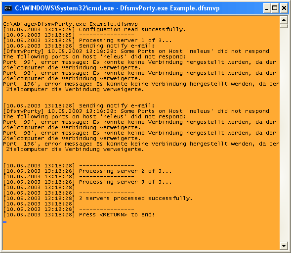 Example output of a run of DfsmvPorty