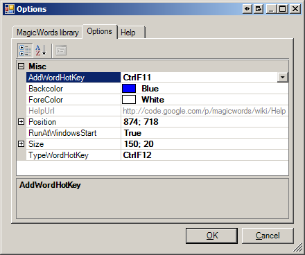 MagicWords (SlickRun clone) User Settings Editor
