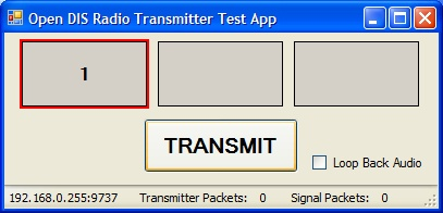 DIS Radio Test Application Radio Transmitter Setup