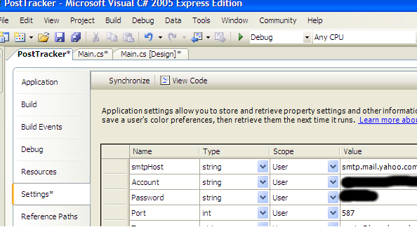 Settings Property page