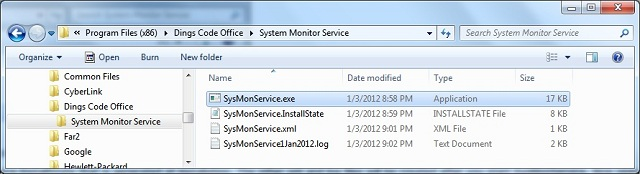 SysMonService installed in the file folder