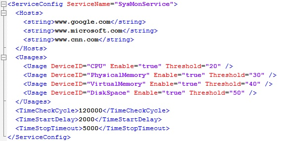 SysMonService the first SysMonService.xml