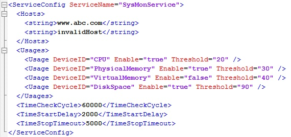 SysMonService the SysMonService.xml changed