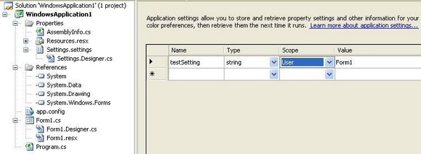 User Specific Application Settings